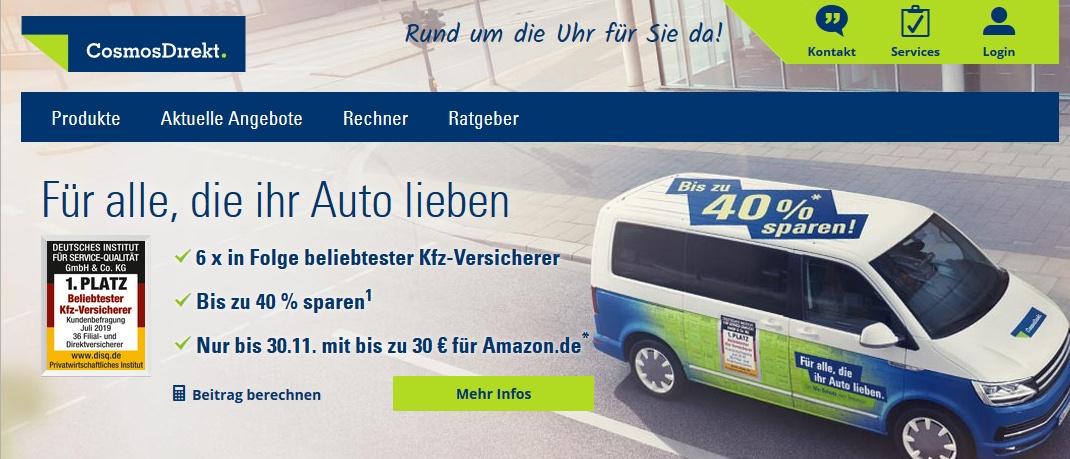 Screenshot der Internetseite cosmosdirekt.de