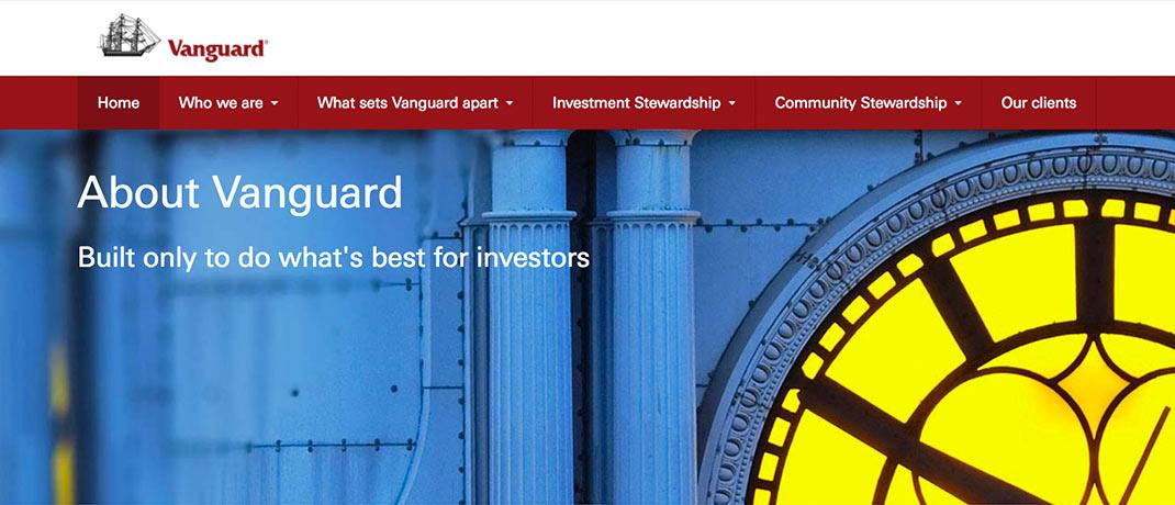 Screenshot vom Webauftritt des ETF-Riesen Vanguard.