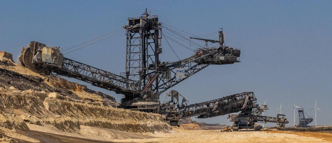 Schaufelbagger im Braunkohletagebau.