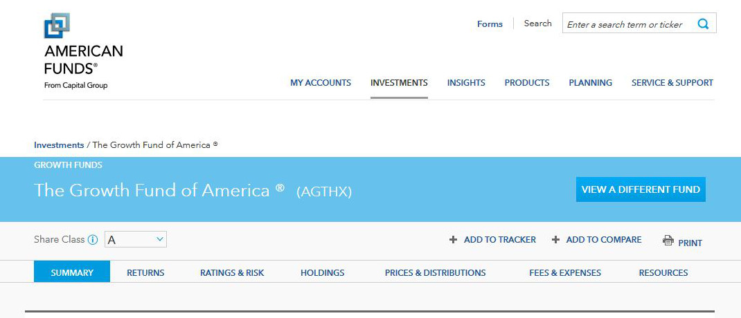 Screenshot der Internetseite von American Funds / Capital Group.