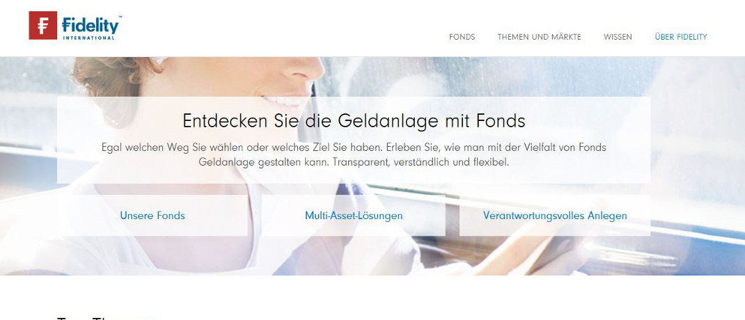 Screenshot der Internetseite von Fidelity Investment Services.