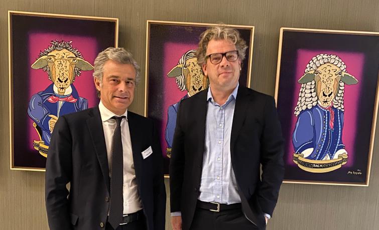 DAS-INVESTMENT-Herausgeber Malte Dreher und Phillipe Oddo, Vorstands-Chef der deutsch-französischen Finanzgruppe Oddo BHF.