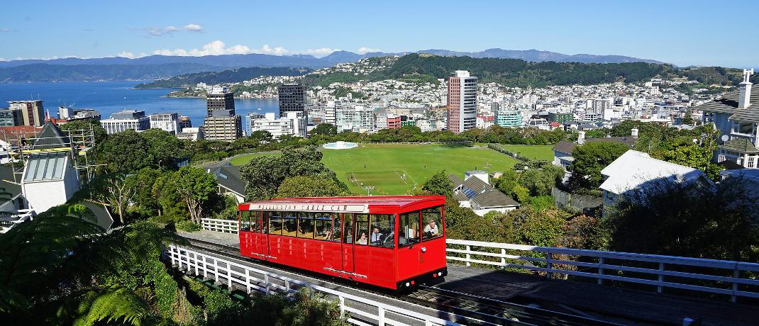 Blick auf Neuseelands Hauptstadt Wellington, dem Sitz der Börse: Das Land liegt auf Platz 8.