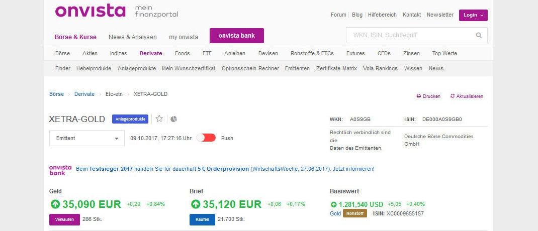 Screenshot der Internsetseite der onvista bank