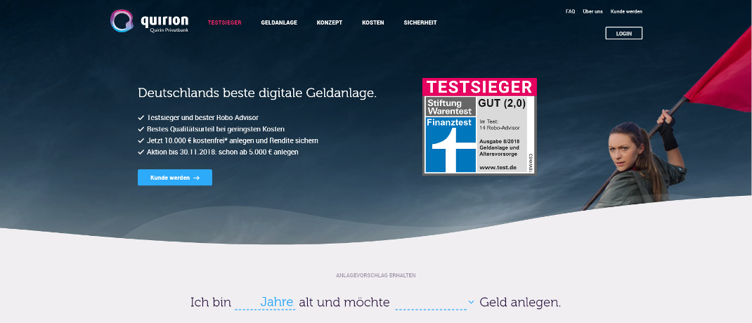Screenshot der quirion-Internetseite