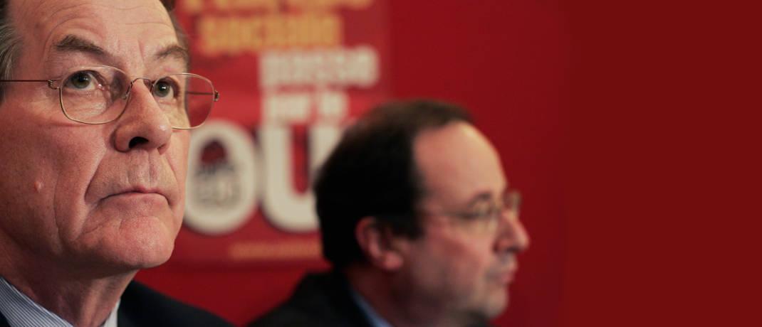 Trat schon 2004 die Heuschreckendebatte los, die 2005 aber richtig Fahrt aufnahm: der damalige SPD-Chef Franz Müntefering (links), hier mit dem späteren französischen Präsidenten François Hollande.