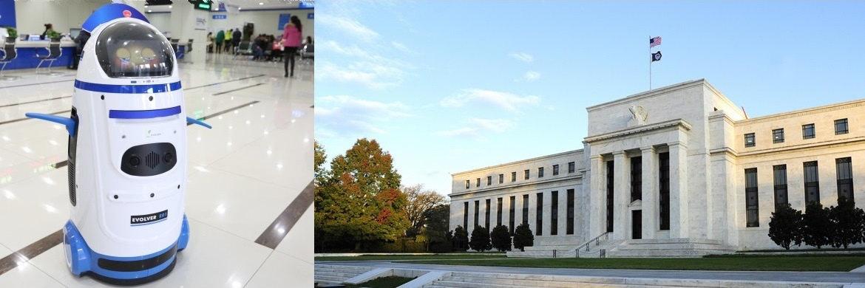 Japanischer Roboter, der Auskunft in Steuerfragen gibt / US-Notenbank Fed