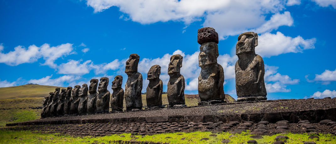 Steinstatuen, Moai genannt, auf den zu Chile gehörenden Osterinseln: Mit 68,7 Punkten liegt das Land auf Rang 10 im Melbourne Mercer Global Pension Index.