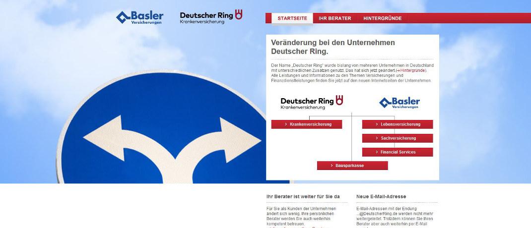 Screenshot der Internetseite von Deutscher Ring