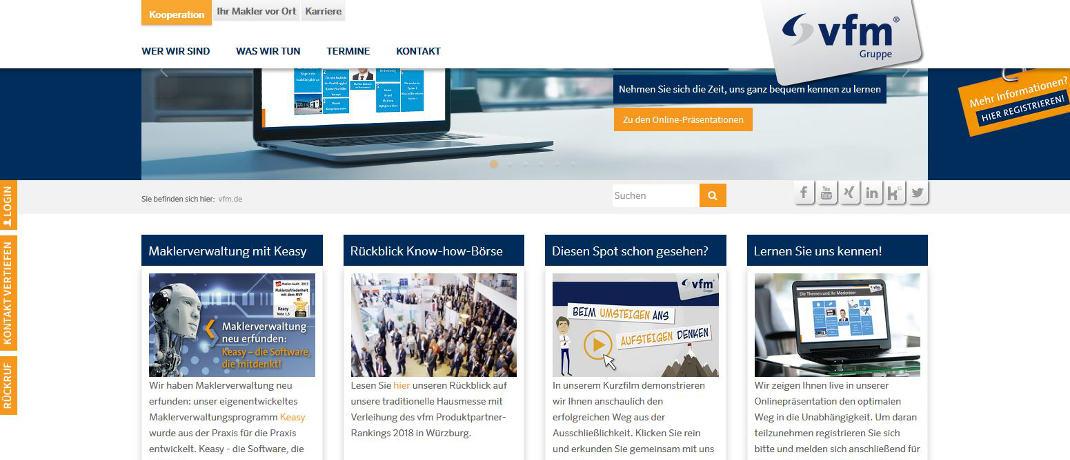 Screensht der Internetseite der VFM-Gruppe