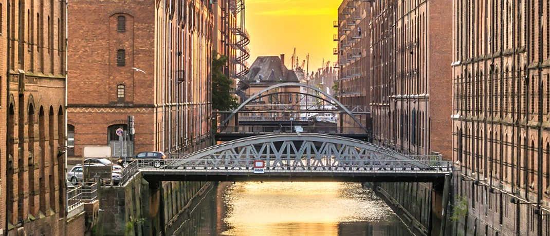 Blick in die Speicherstadt, ein Wahrzeichen Hamburgs