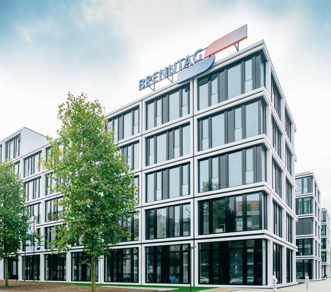 Brenntag-Zentrale in Essen. Das Unternehmen ist Weltmarktführer in der Distribution von Chemikalien und Inhaltsstoffen