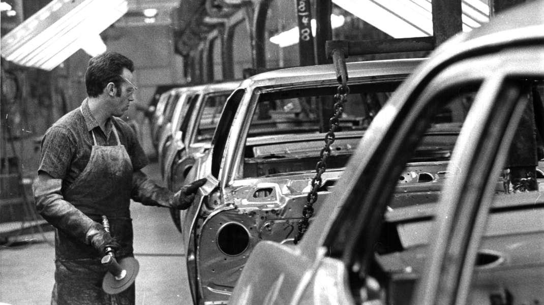 Produktionshalle von General Motors in St Terese, Kanada, im Jahr 1969