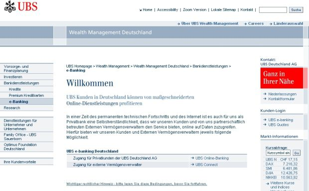 Screenshot der Private-Banking-Website von UBS