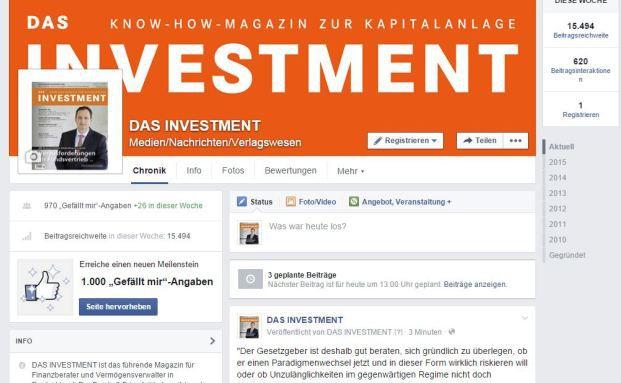 Screenshot DAS INVESTMENT-Facebookseite: Hoffentlich mit mehrheitlich kreditwürdigen Facebook-Freunden