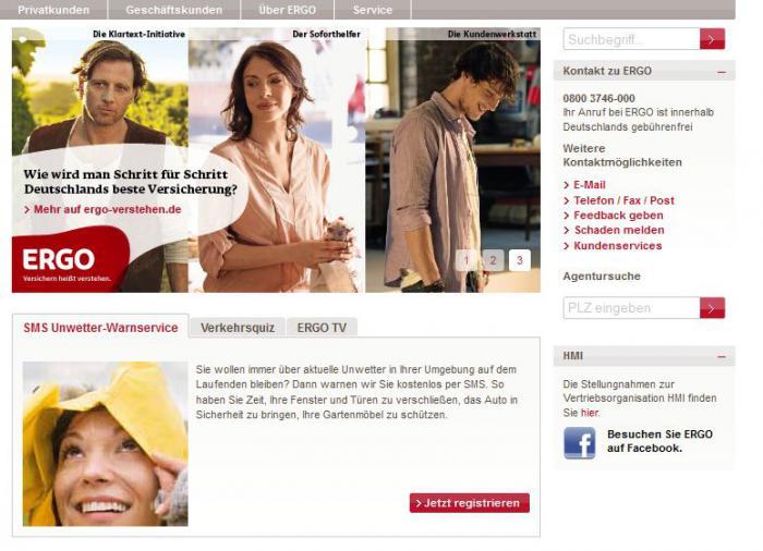 Screenshot von der Ergo-Homepage