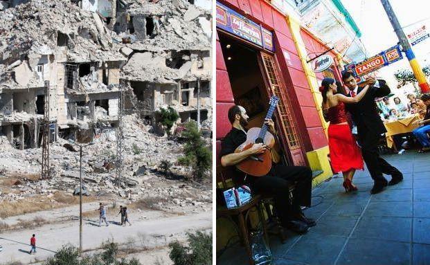 Links: Aleppo, Syrien, rechts: Buenos Aires, Argentinien: Wo ist es gefährlicher? Fragen Sie den Versicherer Ihres Vertrauens. Fotos: Getty Images