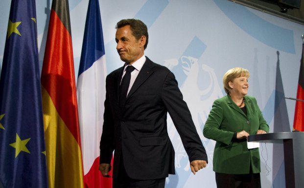 Bekleckern sich in der Euro-Krise nicht mit Ruhm:<br>Bundeskanzlerin Angela Merkel (rechts) und Frankreichs<br>Pr&auml;sident Nicolas Sarkozy. Foto: Getty