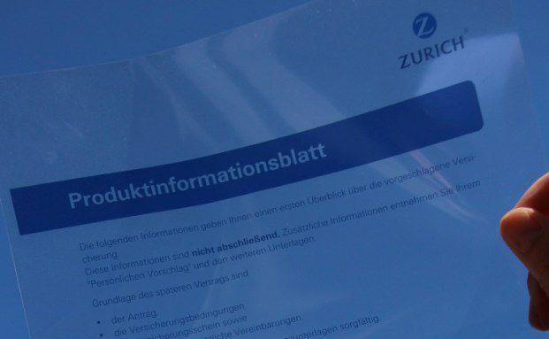 Produktinformationsblatt der Zurich: Die Vertragsunterlagen will der Versicherer für Kunden verständlicher gestalten (Foto: Zurich)