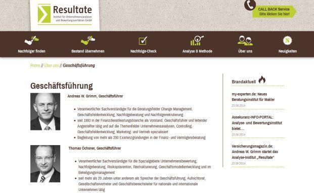 Screenshot der Webseite von Resultate