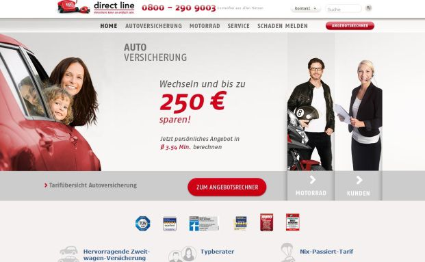 Screenshot der Webseite von Direct Line