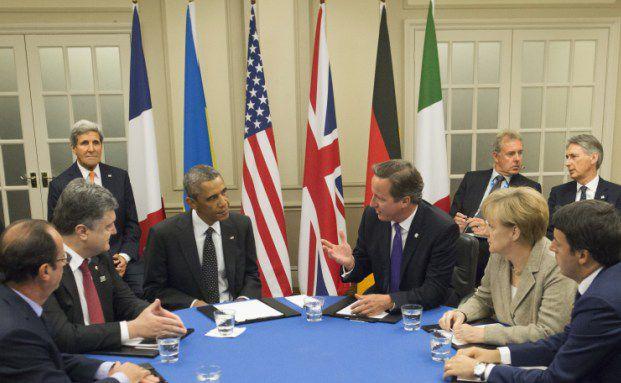 (Von links) Holland, Proschenko, Obama, Cameron, Merkel und Renzi tagen anlässlich der ostukrainischen Krise auf dem Nato-Gipfel in Wales. Foto: Getty Images