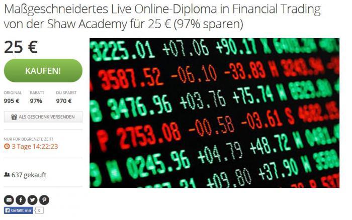 Screenshot des Groupon-Angebots: Für 25 Euro bietet die Shaw Academy hier das Online-Diplom