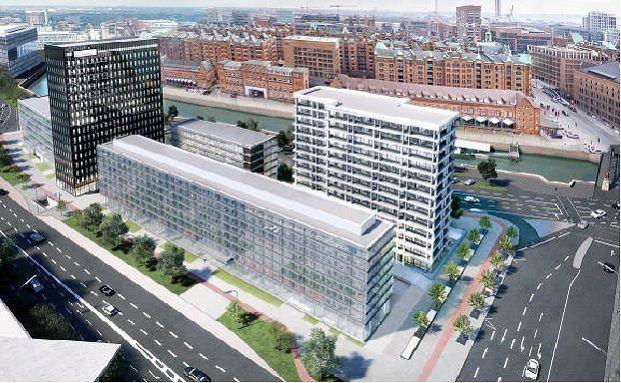 Visualisierung des projektierten Adina Apartment Hotels in Hamburg (Planungsstand: Mai 2015) (Foto: HOCHTIEF Projektentwicklung)