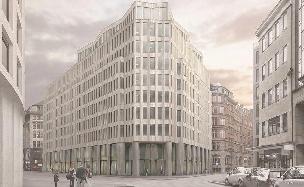 Entwurf der Gestaltung des Burstah Ensembles im Zentrum Hamburgs. (Foto: Commerz Real)