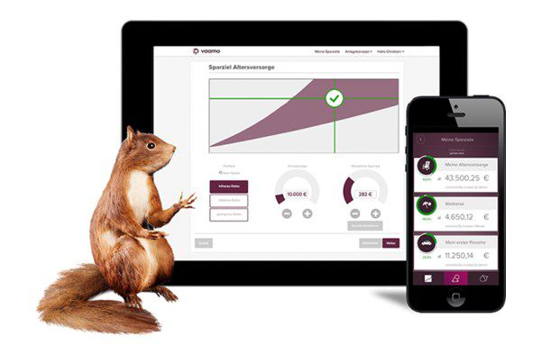 Screenshot der Website vaamo.de. Vaamo ist ein Online-Vermögensverwalter aus Frankfurt.