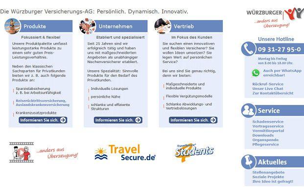 Ein Screenshot von der Webseite der Würzburger. Ganz rechts zu sehen: Das grüne WhatsApp-Logo.