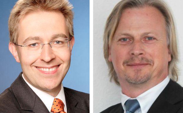 Frank Breiting (l.) ist Leiter private Altersvorsorge bei der DeAWM, Uwe Lange Inhaber der AVL Finanzvermittlung.