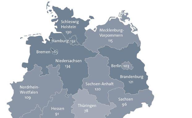 Bei den Privatinsolvenzen in Deutschland zeigt sich ein ausgeprägtes Nord-Süd-Gefälle. Grafik: obs/BÜRGEL Wirtschaftsinformationen GmbH & Co. KG