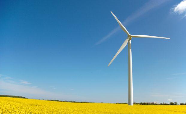 Die Sonne scheint auf eine Windkraftanlage im Rapsfeld. Foto: Petra Bork / <a href='http://www.pixelio.de' target='_blank'>pixelio.de</a>