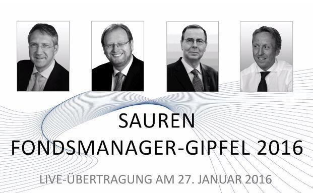 Die Gäste der diesjährigen Sauren-Podiumsdiskussion sind Dr. Bert Flossbach, Peter E. Huber, Klaus Kaldemorgen und Bernd Ondruch. Foto: Screenshot der Sauren-Internetseite