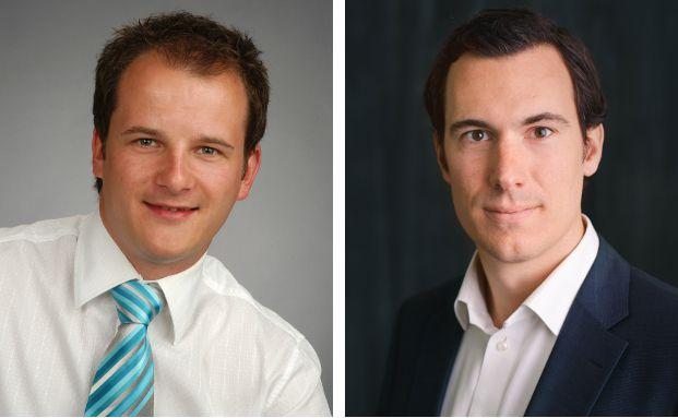 Sven Hennig (l.) ist Versicherungsmakler aus Bergen auf Rügen. Christopher Oster ist Mitgründer und Geschäftsführer von Clark. Foto (r.): © Clark