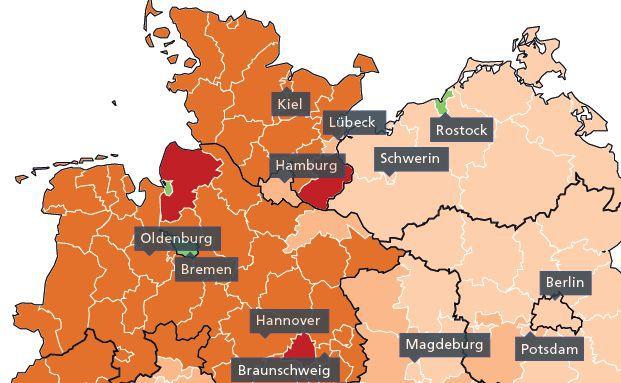 Die Grafik zeigt an, in welchen Regionen die Einwohner an Aktien interessiert sind, aber keine besitzen. Grafik: Comdirect Bank
