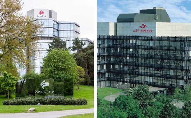 Gebäude der Swiss Life in Hannover und der Alte Leipziger Lebensversicherung in Oberursel.