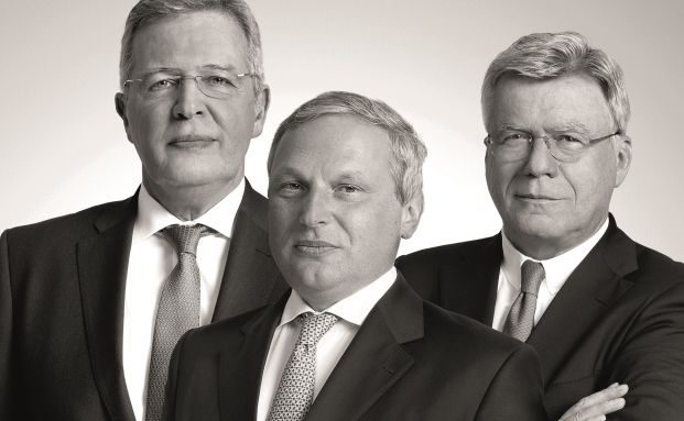 Die Gesellschafter des Bankhauses Lampe. Werner Albert Schuster (links), Nicolas Blanchard und Stephan Schüller (rechts).