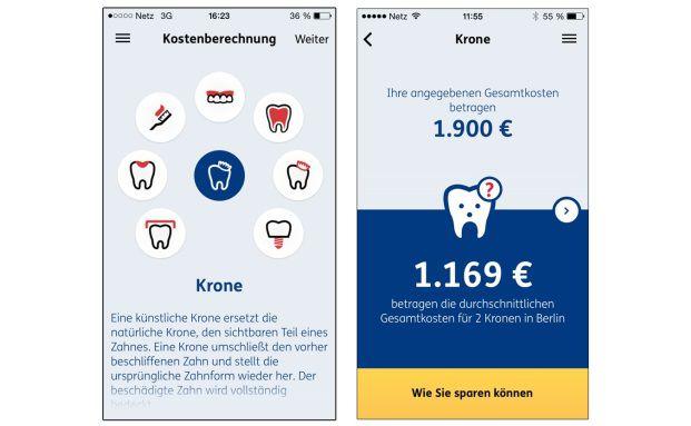 """So sieht die Optik der Ergo-App """"Zahnplan"""" aus. Foto: © Screenshot Appstore"""