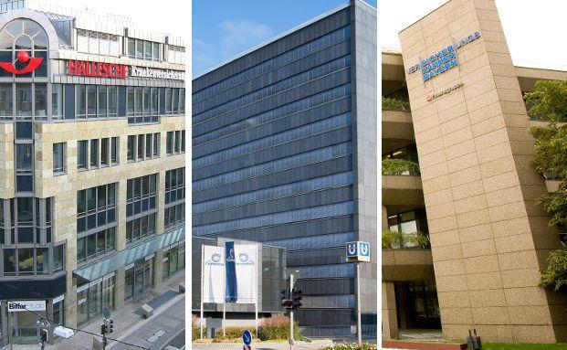Gebäude der Hallesche Krankenversicherung in Stuttgart, der Continentale Versicherungsgruppe in Dortmund und der Versicherungskammer Bayern in München (v.l.).