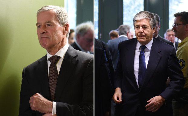 Der ehemalige Vorstandsvorsitzende der Deutschen Bank Josef Ackermann (rechts) und aktueller Co-Ceo Jürgen Fitschen (links) verlassen den Münchener Gerichtssaal nach ihrem Freispruch. Fotos: Getty Images