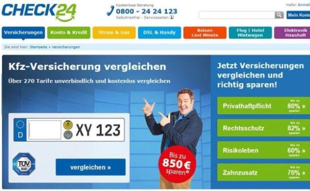 Screenshot der Check24-Website: Versichererverband sagt Vermittlern Untertützung im Streit mit dem Online-Vergleichsportal zu