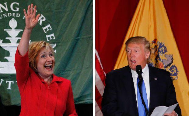 Die beiden voraussichtlichen US-Präsidentschaftskandidaten Hillary Clinton (l.) und Donald Trump. Fotos: Getty Images