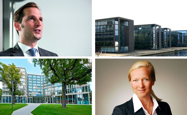 Unsere Collage zeigt Gebäude und Chefs europäischer Fondsanbieter, die es unter die Top 20 ihrer Branche geschafft haben. Foto oben links: Johannes Arlt