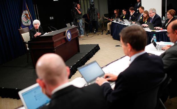 Pressekonferenz von Fed-Chefin Janet Yellen: Sollte vielleicht die US-Notenbank mehr Geheimnisse in ihre Entscheidungen einführen...? (Bild: Getty Images)