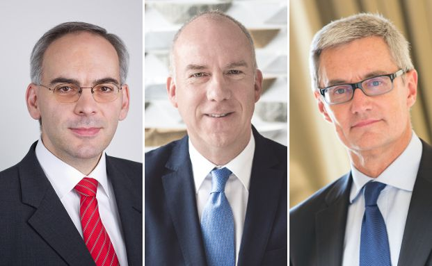 Ihre Meinung zu möglichen Schließungen bei Mischfonds äußerten unter anderem Hermann-Josef Hall, Vorstandsvorsitzender der Sauren Fonds-Research, Peter Badstöber, Leiter des Vertrieb von Pioneer-Fonds über die Hypovereinsbank, und Didier Saint-Georges, Mitglied des Investmentkomitees bei Carmignac (v.l.).