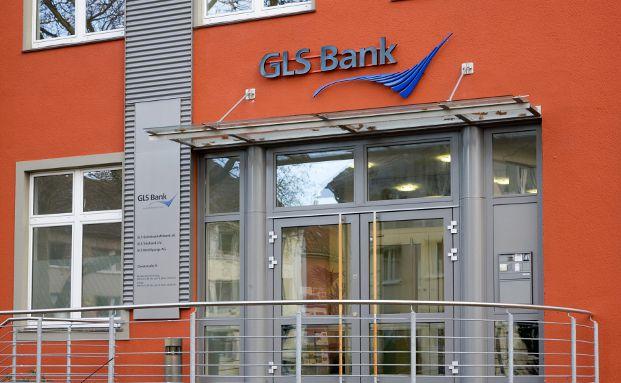 Eingang zum Hauptsitz der am besten bewerteten GLS Bank in Bochum