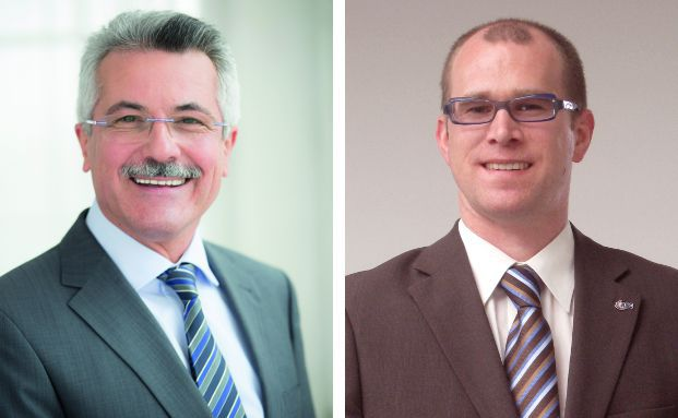 Rudolf Geyer (l.) ist Sprecher der Geschäftsführung der B2B-Direktbank Ebase. Marco Müller ist Chief Operating Officer bei ASC Technologies.