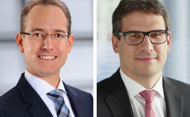 Rouget Pletziger (l.), Principal im Bereich Versicherungen bei Oliver Wyman, und Markus Zimmermann, Partner bei Oliver Wyman und Leiter des Versicherungsbereichs Deutschland, Österreich und Schweiz